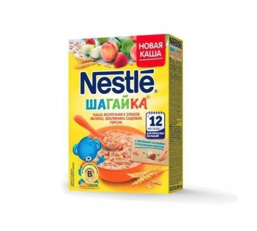 Детское питание в Молдове nestle Каша молочная Шагайка 5 злаков яблоко-земляника-персик 220 гр. (12 м +)