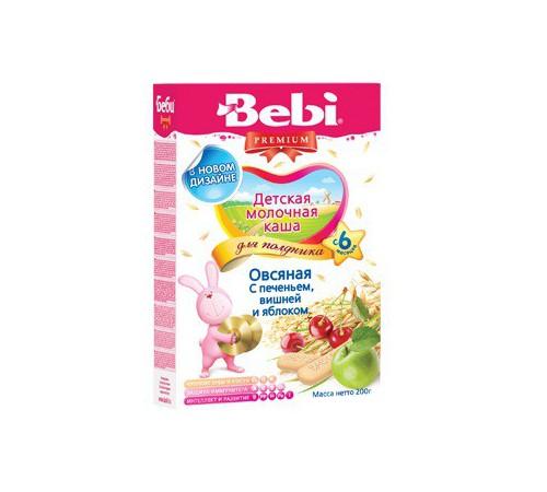 Детское питание в Молдове bebi Каша овсяная для полдника с печеньем вишней и яблоком 200gr.(6+)