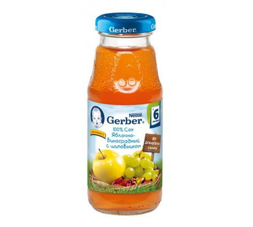 Детское питание в Молдове gerber сок яблоко-виноград-шиповник 175мл.(6+)