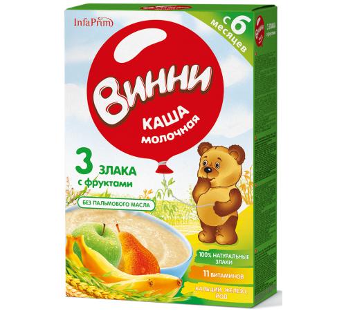 Детское питание в Молдове Винни Каша молочная 3 злака с фруктами (банан, груша, яблоко) (6 m+) 200 gr.