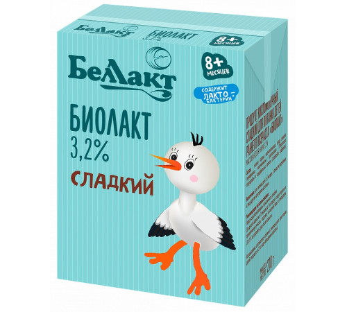 Беллакт biolact dulce pentru hrănirea copiilor mici 3,2% (8 m +) 210 gr.