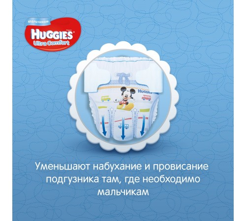 huggies ultra comfort mega boy 4+ (10-16 kg.) 60 buc.