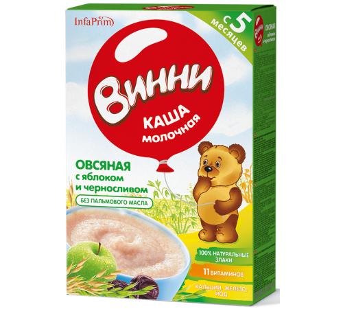 Детское питание в Молдове Винни Каша молочная овсяная с яблоком и черносливом (5 м+) 200 гр.