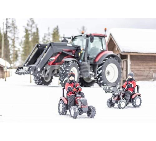 """falk 4000ab Трактор с педалями и прицепом """"valtra s4"""" красный"""