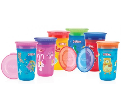 nuby id10411 cană de antrenament 360 ° wonder 300 ml. (6 m +)