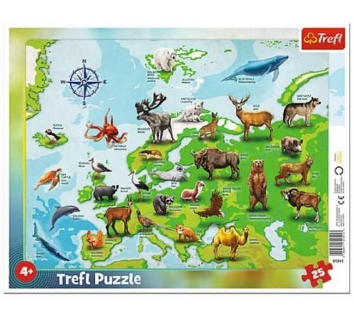 "trefl 31341 Пазлы ""Карта Европы с животными"" (25 эл.)"