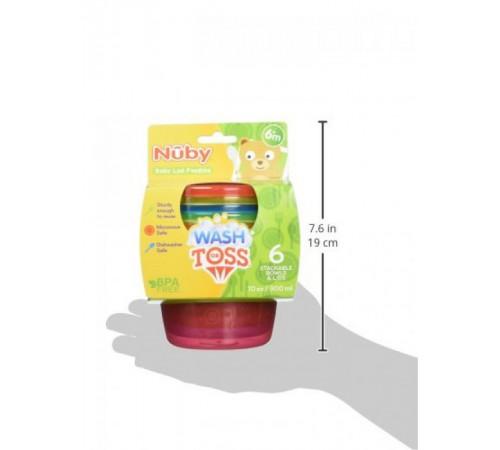 nuby id91164 set de containere-farfurii cu capace (6х300 ml.)