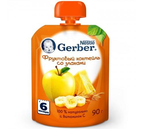 gerber Пюре «Фруктовый коктейль со злаками» 90 гр. (6+)