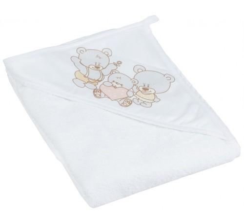 """tega baby Полотенце с капюшоном """"Мишка""""  ms-015-118 (100х100 см.) жемчуг"""
