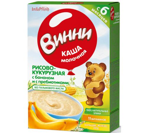 Детское питание в Молдове Винни Каша молочная рисово-кукурузная с бананом и пребиотиками  (6м+) 200 гр.
