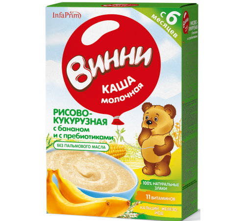 Винни Каша молочная рисово-кукурузная с бананом и пребиотиками  (6м+) 200 гр.