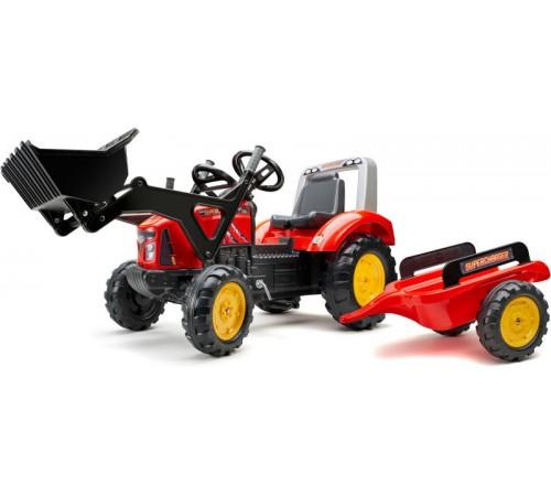 falk 2020m tractor cu pedale, remorcă și cupă roșiu