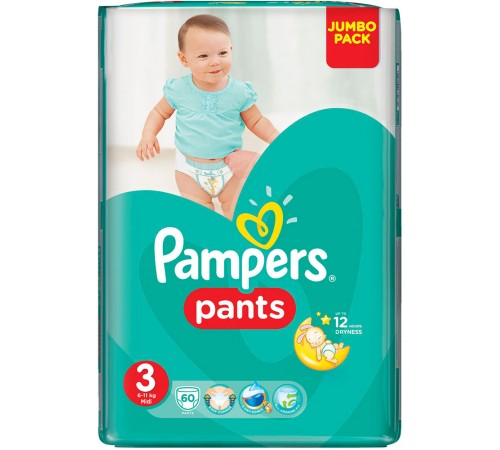 pampers pants 3 (6-11 kg.) 60 buc.
