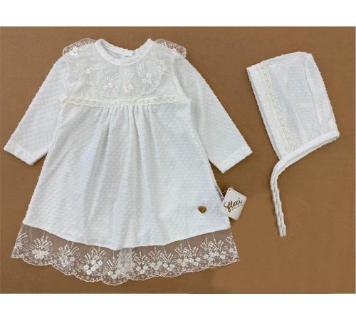 flexi 229217 Платье кружевное с шапочкой (6-12-18-24 мес.) в асс.