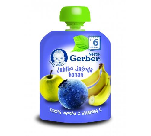 gerber Пюре «Яблоко-Черника-банан» 90 гр. (6+)