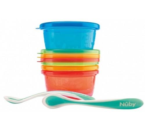 nuby nv0501004 set de prânz - 4 recipiente 2 linguri (300 ml.)