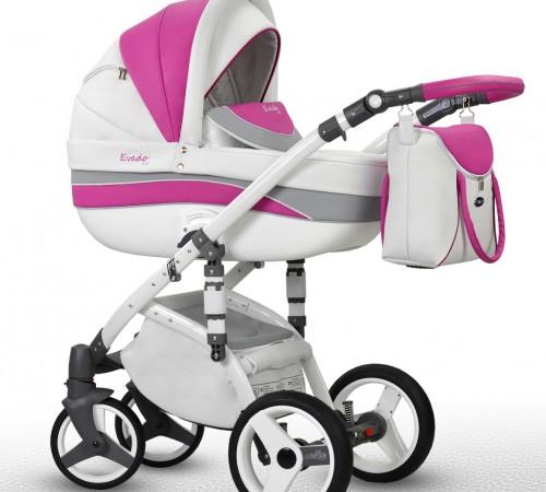 Детские коляски в Молдове wiejar Коляска 2в1 evado 02 eco-кожа,бело-розовый