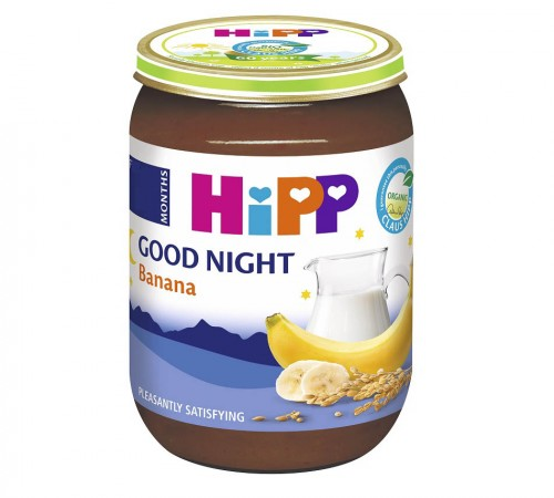 """hipp 5512 Манный молочный десерт с бананом """"Спокойной ночи"""" (4м+) 190 гр."""