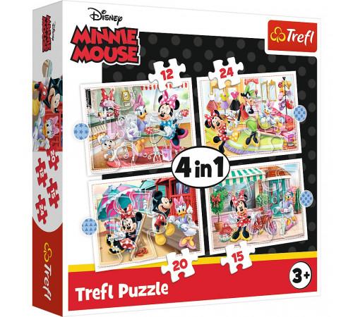 """trefl 34355 puzzle-uri 4-în-1 """"minnie cu prietenii. disney minnie"""" (15/12/20/24 el.)"""