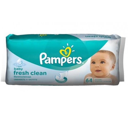 pampers servetele umede fresh clean + aloe (64 buc.)