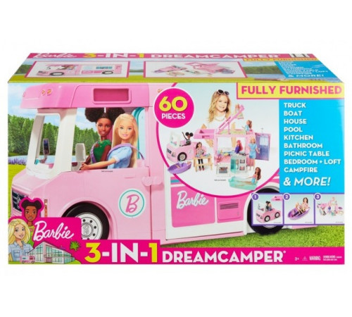 "Jucării pentru Copii - Magazin Online de Jucării ieftine in Chisinau Baby-Boom in Moldova barbie ghl93 set de joc 3-în-1 ""camper barbie"""