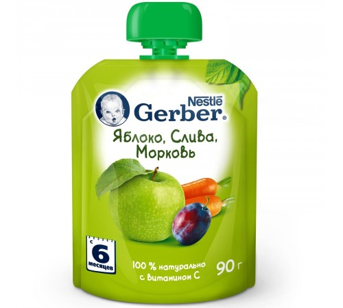 "gerber piure  ""măr-prune-morcov"" 90 gr. (6+)"