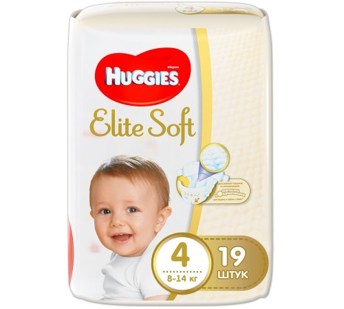huggies elite soft 4 (8-14 kg.) 19 buc.