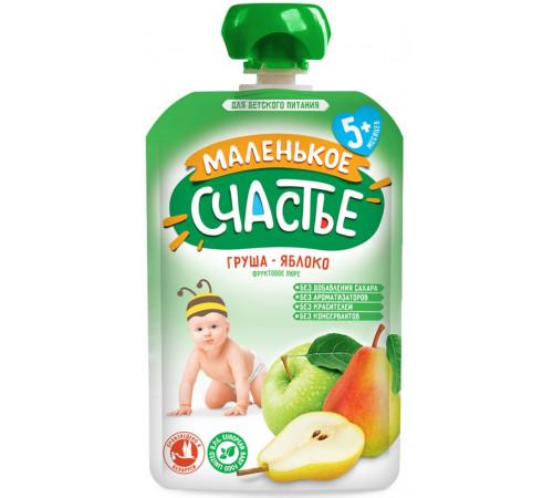 """Детское питание в Молдове """"Маленькое Счастье"""" Пюре Груша-яблоко 90 гр. (5 м +)"""