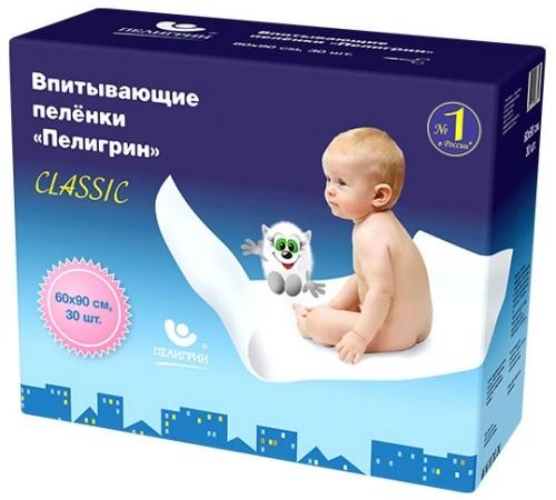 """Пелигрин Пеленки впитывающие """"classic"""" (60х90 см) 30 шт."""