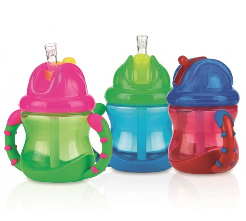 "nuby nv0404002  cana ""no-spill flip-it"" cu pai (12m+) 240 ml."