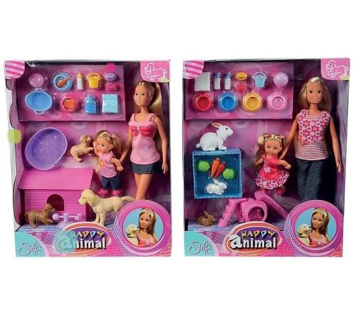 """simba 2156 Игровой набор """"Стеффи и Эви с домашними животными"""" (асс.)"""