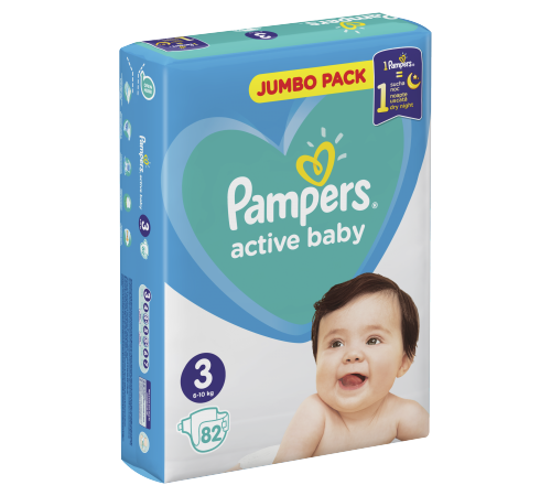 pampers active baby 3 ( 6-10 кг.) 82 шт.