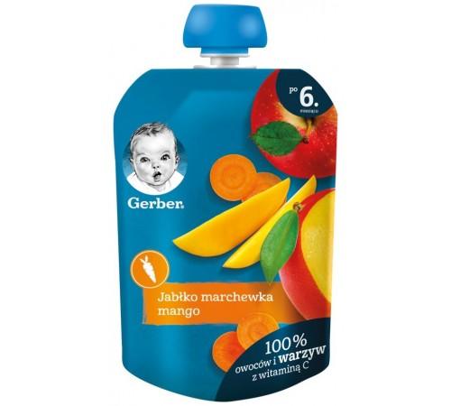 gerber Пюре «Яблоко-морковь-манго» (6 м+) 90 гр.