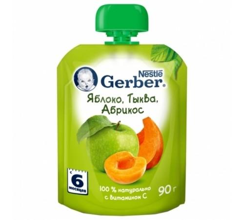 Детское питание в Молдове gerber Пюре «Яблоко-тыква-абрикос»  90 гр. (6+)