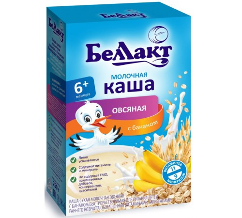 Беллакт каша молочная овсяная c бананом (6m+) 250 гр.