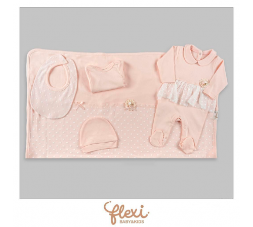 """Одежда для малышей в Молдове flexi 234180 Набор на выписку из 5единиц """"Персик"""""""