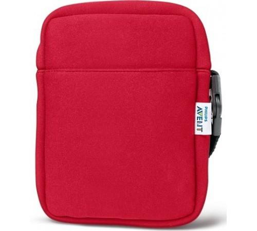 avent scd150/50 geanta-termo din neopren pentru 2 sticluțe rosie