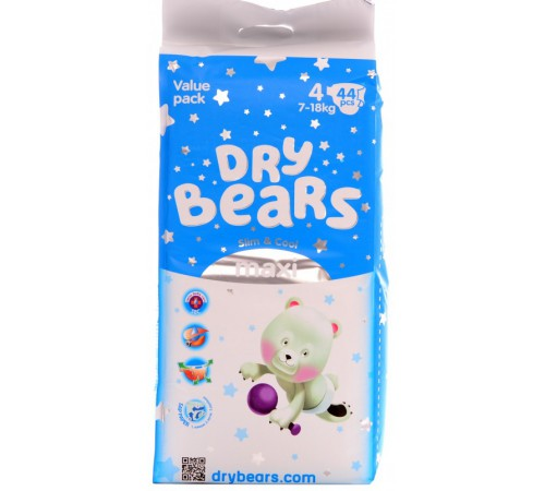 dry bears slim&cool 4 maxi (7-18 кг) 44 шт.