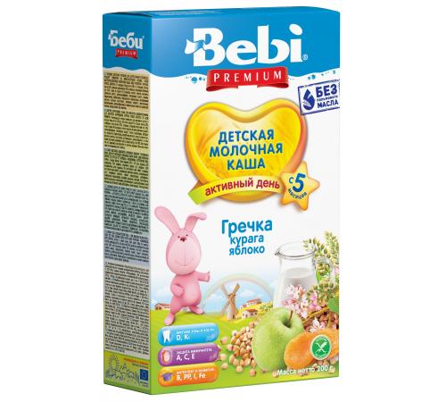 bebi Молочная гречневая каша premium с курагой и яблоком 200 (5+) гр.