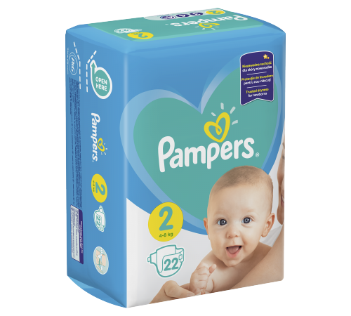 pampers new baby 2 (4-8 kg.) 22 buc.