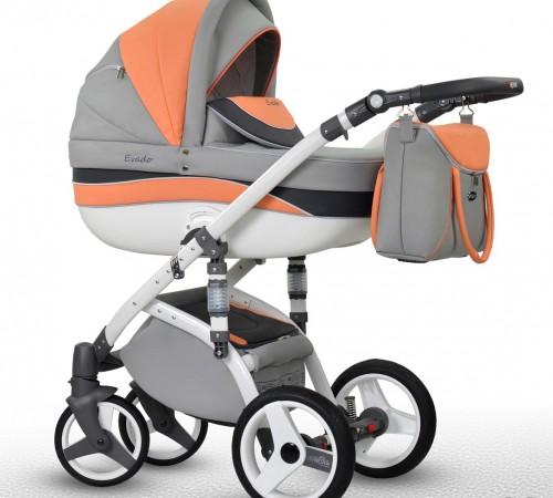 Детские коляски в Молдове wiejar Коляска 2в1 evado 03 eco-кожа, серо-оранжевый