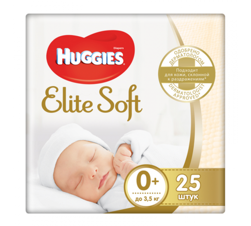 huggies elite soft 0+ (до 3,5 кг.) 25 шт.