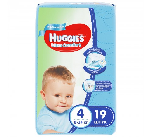 huggies ultra comfort boy 4 (8-14 kg.) 19 buc.
