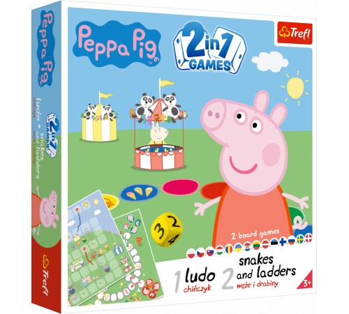 """trefl 02067 joc de masa 2-în-1 ludo """"Șerpi și scări. peppa pig"""""""