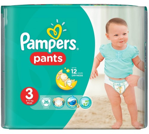 pampers pants 3 (6-11 kg.) 26 buc.