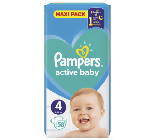 pampers active baby 4 (9-14 kg.) 58 buc.