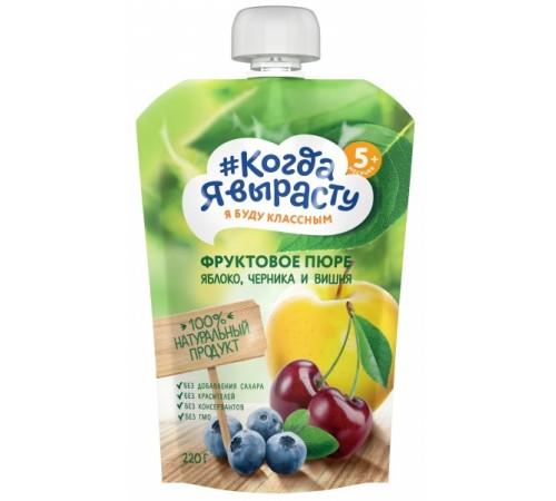 """Детское питание в Молдове """"Когда Я Вырасту"""" Пюре Яблоко-вишня-черника (5м+) 220 гр."""