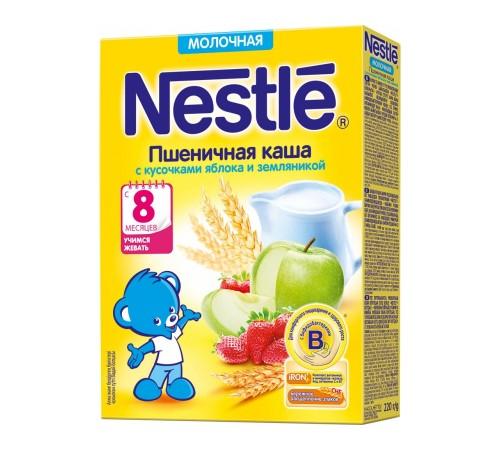 Детское питание в Молдове nestle Каша молочная пшеничная с кусочками яблока и земляникой 220 гр. ( 8 м+)