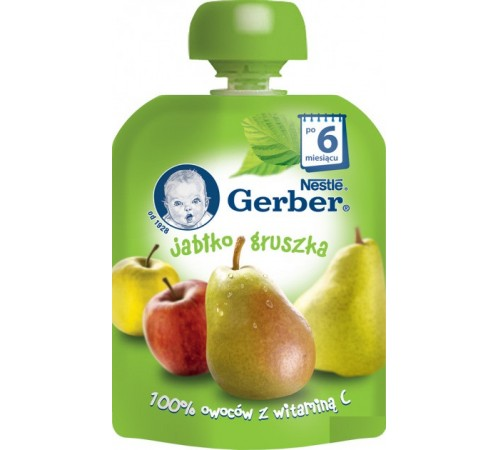 Детское питание в Молдове gerber Пюре «Яблоко-груша» 90 гр. (6+)