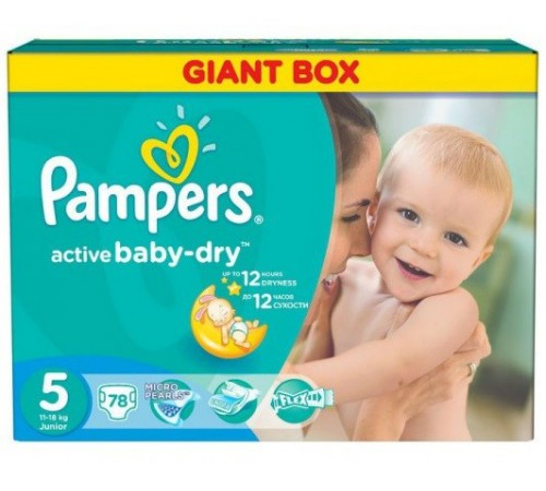 pampers 3304 active baby junior  5 (11-18 кг.) 78 шт.